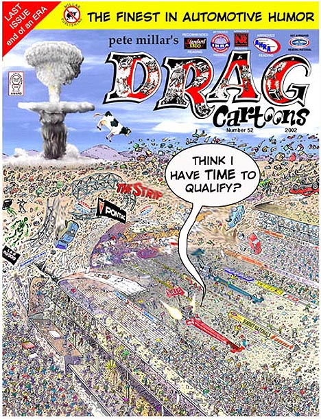 Pete Millar's DRAGcartoons Issue 52 Cover Art. Cartoon by Pete Millar
