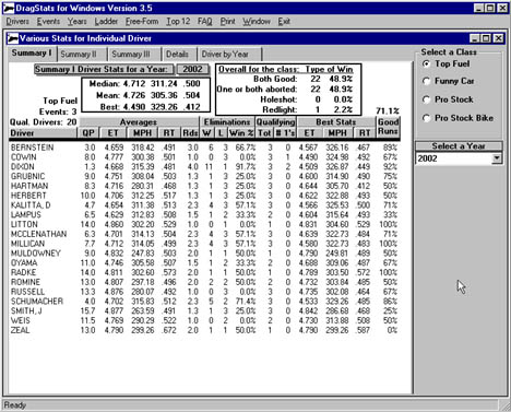 Here's a screenshot of Top Fuel statistics.