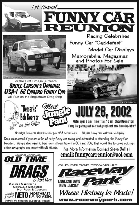 Don't miss the 1st Annual Funny Car Reunion at E-town! All your East Coast drag pals will be there!