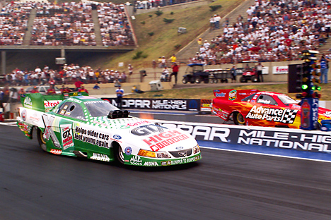 John Force ended his longest draught since 1989 with a win at Denver. Photo by Lee Craker
