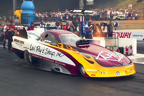 Tim Wilkerson was the early qualifying leader in Funny Car at Bandimere. Photo by Lee Craker