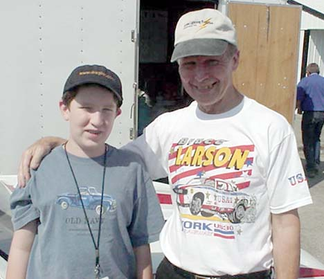 My 12 year old with a drag racing star I've been a fan of since *I* was 12 years old -- Bruce Larson.