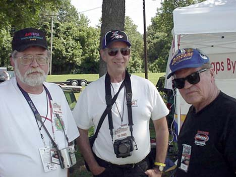 George Crittenden, Vic Cooke, and Olin catching up on Sunday morning before all the action begins.