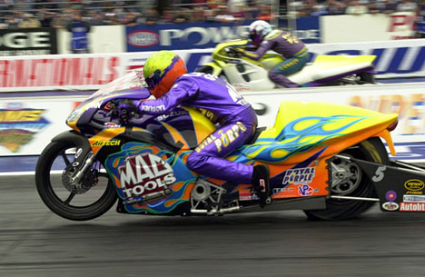 Shawn Gann dominated Pro Stock Bike.