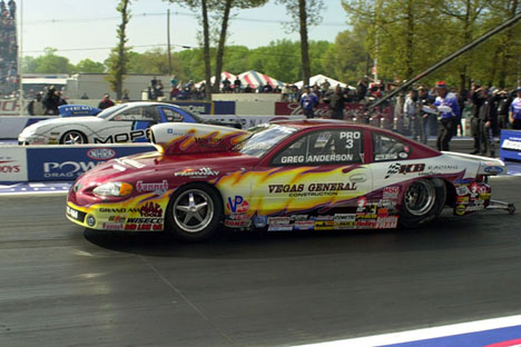 Pro Stock final, Greg Anderson takes out Darrell Alderman.