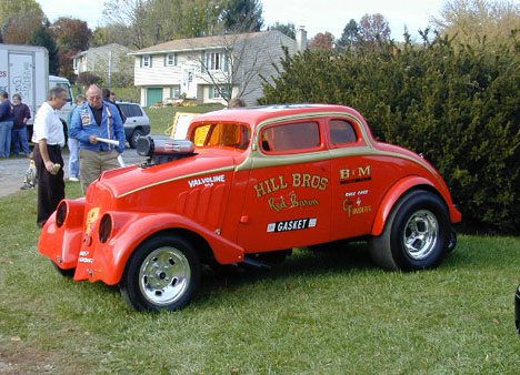 Ken Kull's Hill Bros. gasser resto looked great. Ken's dad wore the jacket awarded to Pete Hill when he set the record at OCIR. Photo by Bob Fermier