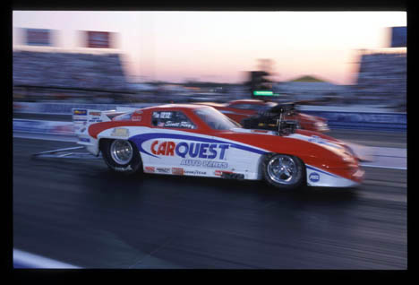 Scott Ray blasts by during the Pro Mod session at Indy 2002. Photo by Ron Lewis