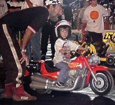 The youngest member of the Gambino crew takes a spin at the Supercharger Showdown. 7-08-00 by Tim Pratt