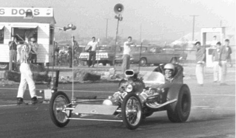 """Cementhead"" Don Yates in Dick Goss' car at San Gabriel 1962. Photo by Steve Gibbs"