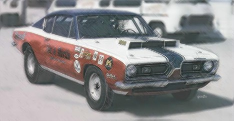 Classic S&M -- Sox & Martin's Cuda Super Stock. Photo art by Gonzo