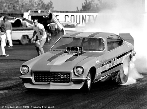 Mike Halloran's Vega Funny Car, 1972. Photo by Tom West