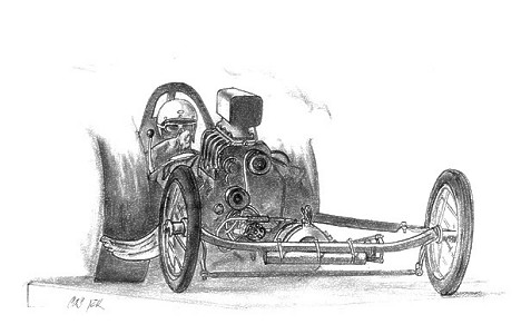 Steineggar and Eshenbaugh Fuel Dragster. Pencil art by Chris Stinson
