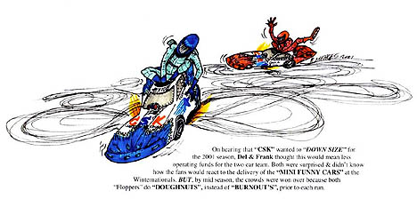 Checker Schuck's Kragen debuted mini funny cars in 2001 with unexpected results. Cartoon by Rick Menges