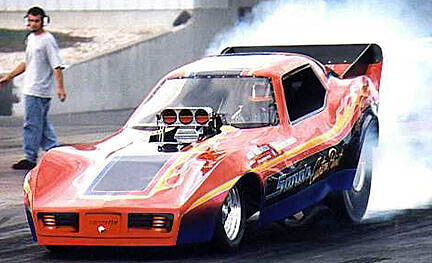 Dave Sano's great looking '78 Corvette funny car is fun on a budget. Photo by Bill Schaible