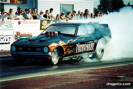 Frank Jonkman has traded in the Raising Hell Fiat for this amazing Mustang nitro car. Photo by Joe Barrett