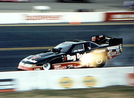 Jim Epler gets big flames at SIR in 1995. Photo by Ralph Reiter