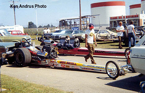 Jim Nicoll's Top Fuel car waits at Indy just before it's dramatic final round race against Don Prudhomme. Photo by Ken Andrus