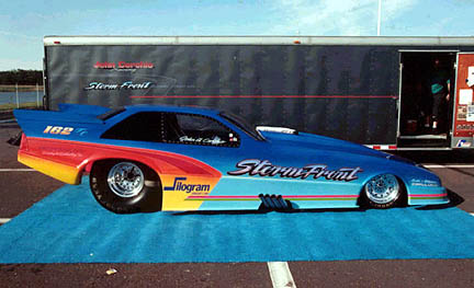 John Cerchio's Storm Front is another outstanding example of low buck excellence in funny car racing. Photo by Art Cimilluca