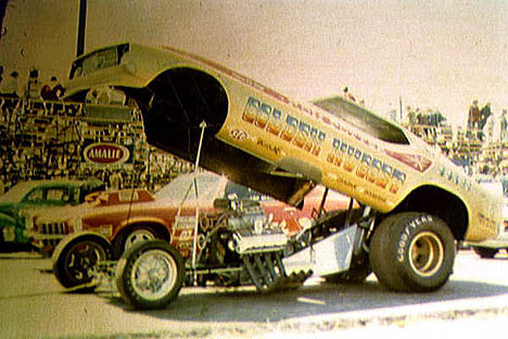 Ron Potter's Golden Nugget Mustang Fuel Funny Car at the '72 Springs. Photo by Vic Cooke