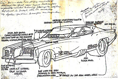The original Revelleader drawing submitted to Mickey Thompson, returned with his notes. Click to see the full size drawing. By Ron Pellegrini