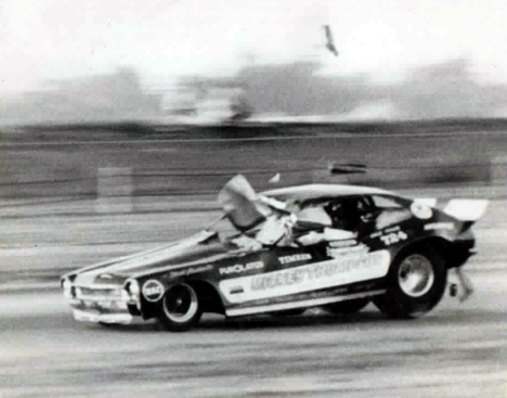 Dale Pulde playing rough with the Mickey Thompson Pinto. Photographer unknown