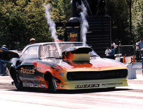 Dave Persico spraying the nitrous big time. Photo by Drag Racing Memories