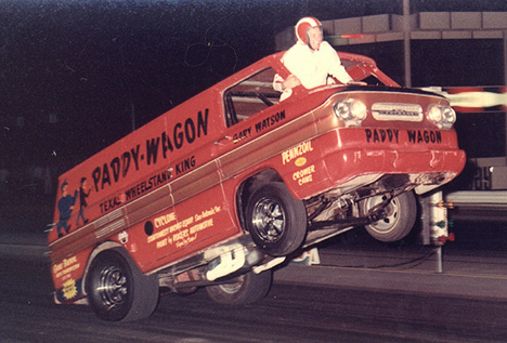 Gary Watson would give modern insurance men a heart attack with antics like this. Drag Racing Memories photo