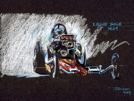 Leland Kolb lifts a rear wheel. Racing art by Jeff Teaford