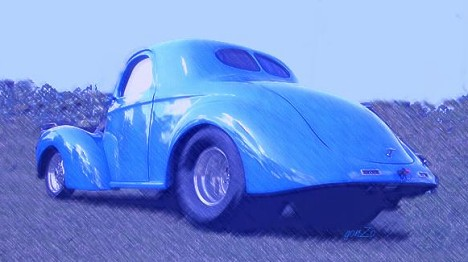 Old Blue '41 Willys. Photo art by Gonzo