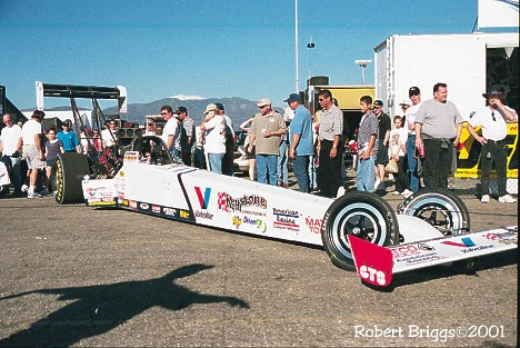 Russell to the Staging Area... Joe Amato's Top Fueler, 2001. Photo by Robert Briggs