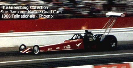 Sue Ransom legs the McGee Cams Aussie Top Fueler through the traps at the Fallnationals in 1986. Photo by Lyle Greenberg