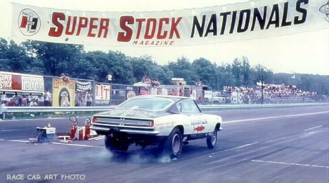 The Kingfish Cuda Funny Car blasts off the line at the 1967 Super Stock Nationals. Photo by Joel Naprstek