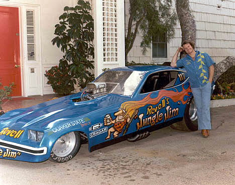 A happy Jungle Jim Liberman poses with his Monza funny car in front of Jerry Lewis' house. Photo by Ed Preston