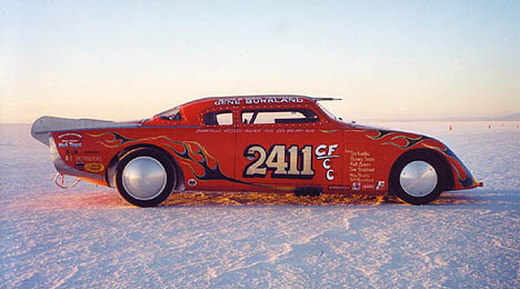 Gail Tesinsky drives this 255 mph '53 Studebaker on the salt. Photo thanks to Gail Tesinsky
