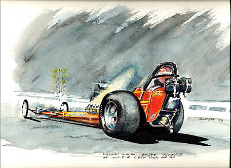 Leland Kolb's dragster comes to life in this awesome work. Racing art by Jeff Teaford