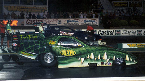 The Croc Attack fuel funny car wants to put the bite on his opponents down under. Photo by Craig Christerson