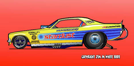 Don Schumacher's Stardust Cuda Funny Car. Racing art by Jim M White