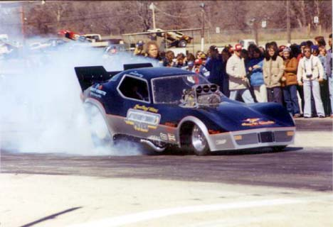 The Lewelling and Winters Saturday Night Fever Corvette Funny Car at Green Valley. Photo by Jim White