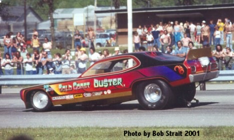 A rare shot of the Gold Coast Duster fuel funny car. Photo by Bob Strait
