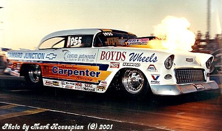 Charles Carpenter with one of the earliest nitrous backfires in history -- 1990! Photo by Mark Hovsepian