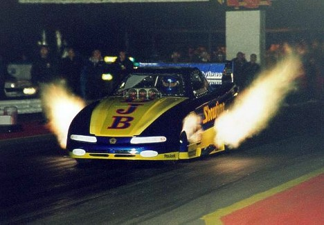 Showtime, UK Style! Fuel Funny Car at Night. Photo by Tog