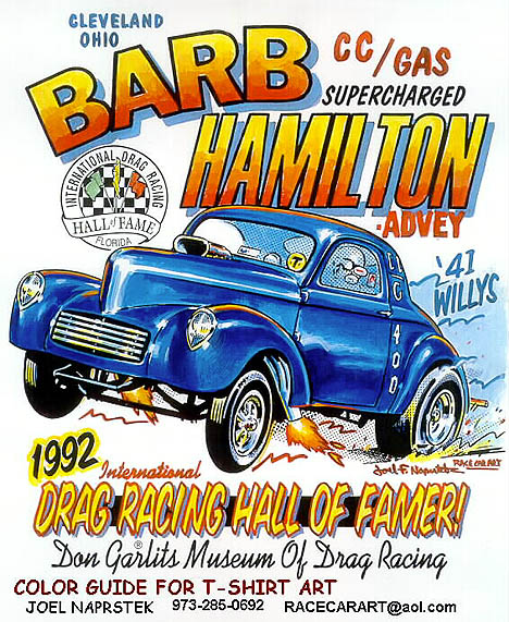 Barb Hamilton was one of the toughest drag racers ever. T-shirt art by Joel Naprstek