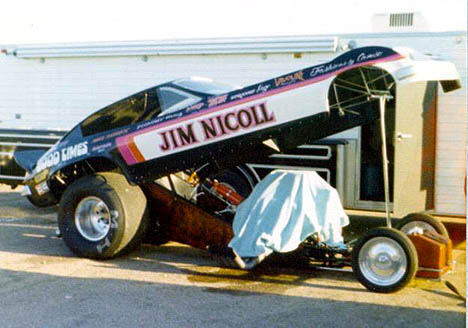 Jim Nicoll's good looking Chevy Monza funny car in 1976. Photo by Jim White