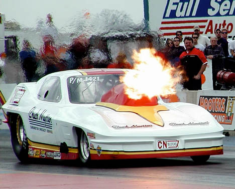 Carb specialist Chuck Nuytten suffered this nitrous burp in San Antonio. Photo by Roger Richards