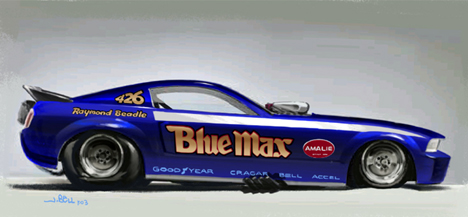 Unreal Blue Max funny car art by John Bell