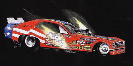 Young David Hapgood shows a great deal of artistic talent with this rendering of Tommy Ivo's Dodge Dart flopper. Racing art by (13 year old) David Hapgood