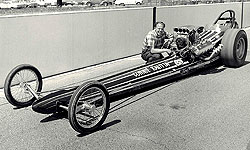 Connie Kalitta and his Ford rail, The Bounty Hunter.