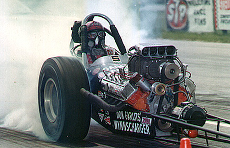 Don Garlits' Wynnscharger front engine dragster. Photo from the Drag Racing Memories collection