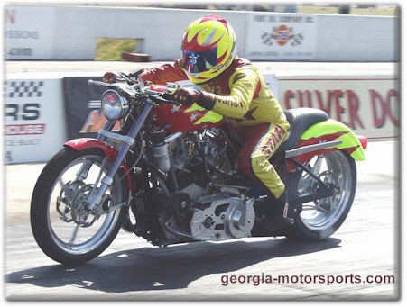 Fred Collis at the wheel of Star Racing's Harley V-Twin Shootout Bike. Photo by Jerry Battle