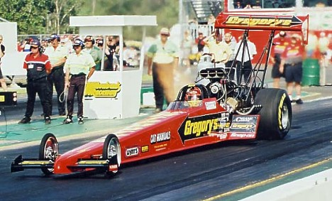 Jim Read launches his Top Fuel car during the day. Photo by John Baremans